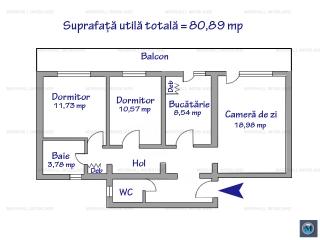 Apartament 3 camere de vanzare, zona Republicii, 80.89 mp
