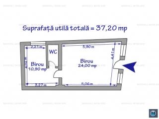 Spatiu  birouri de inchiriat, zona Ultracentral, 37.20 mp