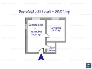 Apartament 2 camere de vanzare, zona Malu Rosu, 38.51 mp