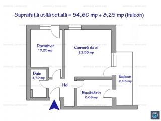 Apartament 2 camere de vanzare, zona Albert, 62.85 mp