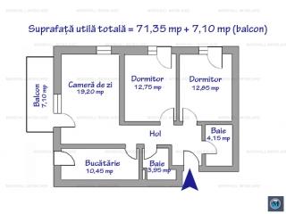 Apartament 3 camere de vanzare, zona Albert, 78,45 mp