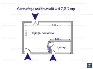 Spatiu comercial de vanzare, zona Mihai Bravu, 47.3 mp