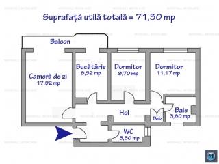 Apartament 3 camere de vanzare, zona Republicii, 71.3 mp