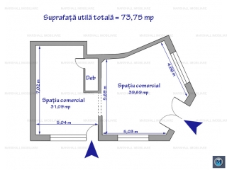 Spatiu comercial de inchiriat, zona Ultracentral, 73.75 mp