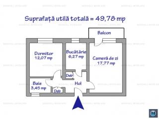Apartament 2 camere de vanzare, zona Vest - Lamaita, 49.78 mp