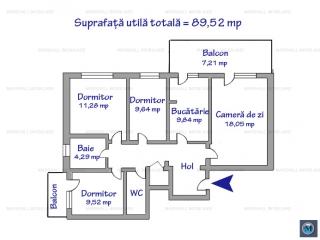 Apartament 4 camere de vanzare, zona Democratiei, 89.52 mp