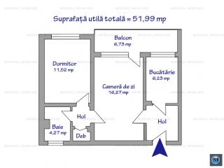 Apartament 2 camere de vanzare, zona Cantacuzino, 51.99 mp