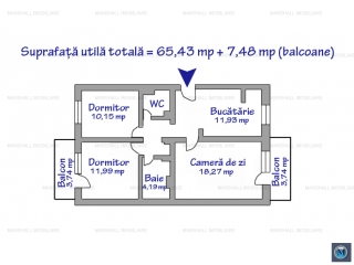 Apartament 3 camere de vanzare, zona 9 Mai, 72.91 mp