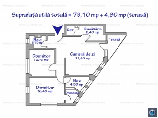 Apartament 3 camere de vanzare, zona Ultracentral, 79.10 mp