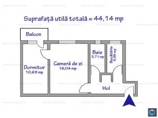 Apartament 2 camere de vanzare, zona Baraolt, 44.14 mp
