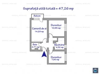 Apartament 3 camere de vanzare, zona Nord, 47.26 mp
