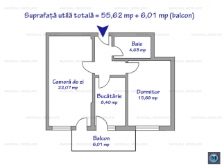 Apartament 2 camere de vanzare, zona Albert, 55.62 mp