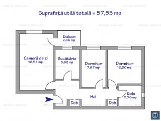 Apartament 3 camere de vanzare, zona Cantacuzino, 57.55 mp