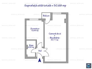 Apartament 2 camere de vanzare, zona Vest, 50.68 mp
