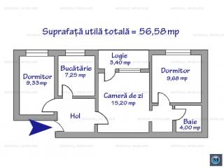 Apartament 3 camere de vanzare, zona 9 Mai, 56.58 mp