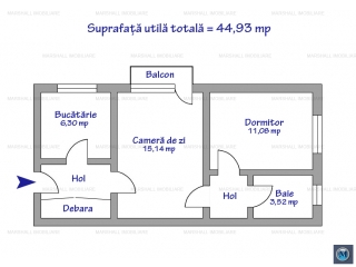 Apartament 2 camere de vanzare, zona Andrei Muresanu, 44.93 mp