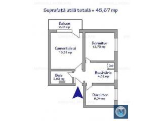 Apartament 3 camere de vanzare, zona Marasesti, 45.67 mp
