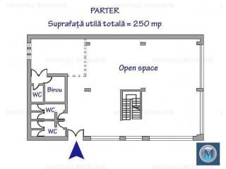 Spatiu  birouri de inchiriat, zona Cantacuzino, 250 mp