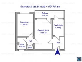 Apartament 2 camere de vanzare, zona Vest, 53.78 mp