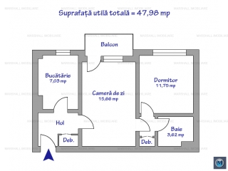 Apartament 2 camere de vanzare, zona Nord, 47 mp