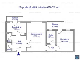 Apartament 2 camere de vanzare, zona Eroilor, 63.85 mp