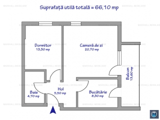 Apartament 2 camere de vanzare, zona B-dul Bucuresti, 66.10 mp