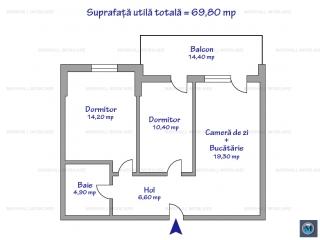 Apartament 3 camere de vanzare, zona B-dul Bucuresti, 69.80 mp