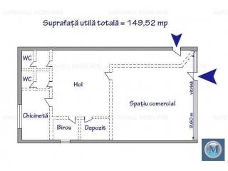 Spatiu comercial de inchiriat, zona Sud, 149.52 mp