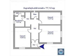 Casa cu 3 camere de vanzare, zona Central, 77.1 mp