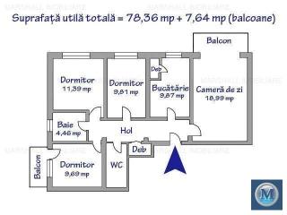 Apartament 4 camere de vanzare, zona Cantacuzino, 78.36 mp