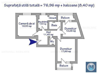 Apartament 3 camere de vanzare, zona Ultracentral, 85.36 mp