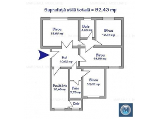 Spatiu  birouri de inchiriat, zona Gheorghe Doja, 92.43 mp