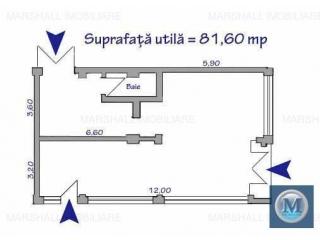 Spatiu comercial de inchiriat, zona Ultracentral, 81.6 mp