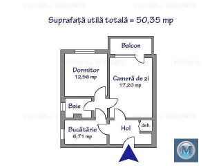 Apartament 2 camere de vanzare, zona Nord, 50.35 mp
