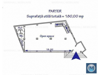 Spatiu  birouri de vanzare, zona Cantacuzino, 540 mp