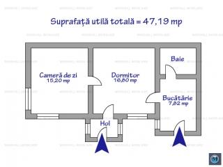 Casa cu 2 camere de vanzare, zona Cantacuzino, 47.19 mp