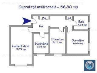 Apartament 3 camere de vanzare, zona B-dul Bucuresti, 56.8 mp