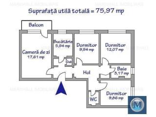 Apartament 4 camere de vanzare, zona Vest - Lamaita, 75.97 mp