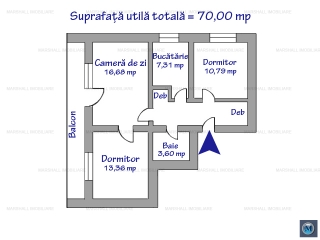 Apartament 3 camere de vanzare, zona Ultracentral, 70 mp