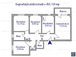 Apartament 4 camere de vanzare, zona Republicii, 80.19 mp