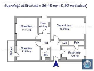 Apartament 3 camere de vanzare, zona Marasesti, 72.35 mp