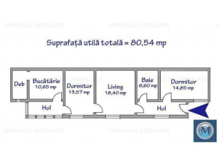 Casa cu 3 camere de vanzare, zona Sud, 84.54 mp