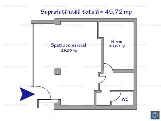 Spatiu comercial de inchiriat, zona Cantacuzino, 45.72 mp