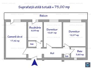 Apartament 3 camere de vanzare, zona Malu Rosu, 75 mp
