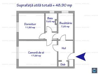 Apartament 2 camere de vanzare, zona Nord, 48.90 mp