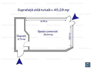 Spatiu comercial de inchiriat, zona Sud, 45.28 mp