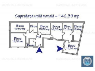 Spatiu  birouri de vanzare, zona Central, 142.39 mp
