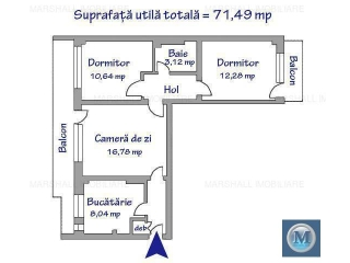 Apartament 3 camere de vanzare, zona Nord, 71.49 mp