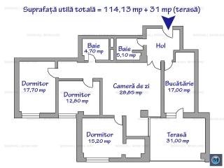 Apartament 4 camere de vanzare, zona 9 Mai, 114.13 mp