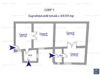 Casa cu 4 camere de vanzare, zona Est, 63.37 mp